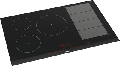 Picture of Siemens ex875lx34e built-in hob induction aluminum, black hob
