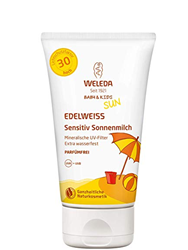 Picture of WELEDA Baby and Kids Edelweiss Sensitiv Sun Milk SPF 30, instant natural sunscreen with UV filters for babies, children and sensitive skin, perfume-free and waterproof (1 x 150 ml)