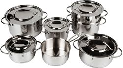 Picture of WMF Gala Plus 7-Piece Saucepan Set with Metal Lid, Saucepan, Steamer Insert, Cromargan Polished Stainless Steel, Suitable for Induction Cookers, Dishwasher Safe