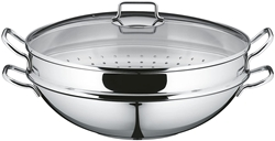 Picture of WMF Macau Stainless Steel Wok with Steamer and Lid, 36cm