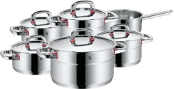 Picture of WMF Premium One 6-piece pot set, metal lid with steam opening, saucepan, saucepan, Cromargan polished stainless steel, induction, cold handles, interior scaling
