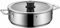 Picture of WMF VarioCuisine roaster, aroma steam cooker with Silence glass lid incl. Thermometer, Cromargan stainless steel, induction, silicone rim