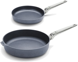 Picture of Woll Diamond Lite Pro 3-Piece Frying Pan Set 24 & Schmorr Pan 28 cm Cast Iron Frying Pan Pan with Stainless Steel Handle