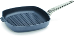 Picture of WOLL Diamond LITE Pro induction, cast iron steak pan square with stainless steel handle, 28 x 28 cm, 4 cm high with grooves