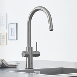 Picture of GROHE Blue Home Starter-Kit kitchen faucet with filter function, pull-out, C-spout