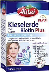 Picture of Abtei Silica Biotin Plus Depot (Zinc, Copper), 56 Tablets - 78 g