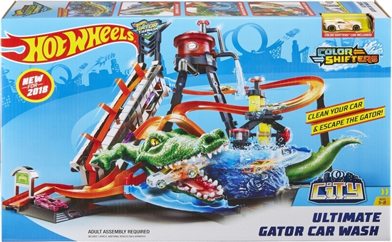 Picture of Hot Wheels City FTB67, Ultimate Car Wash System with Crocodile, Washing Station Play Set with Colour-Changing Effect, Includes