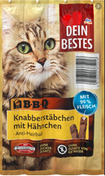 Picture of BBQ, snack for cats, nibble sticks with chicken, 40 g