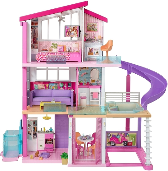 Picture of Barbie Dreamhouse Adventures with 3 Floors, 8 Rooms, Pool with Slide and Accessories, Approx. 116 cm High with Lights and Sounds, Toys for Ages 3 Years and Over