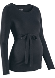 Picture of Bonprix Maternity sweater made of 100% cotton with a tie, Black