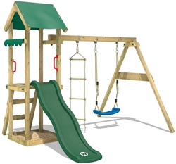 Picture of Wickey TinyCabin Play Tower Climbing Frame with Swing & Green Slide, Playhouse with Sandpit & Rope Ladder